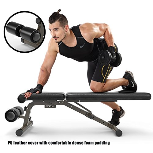 FEIERDUN Utility Weight Bench – 882 lbs Capacity Exercise Bench Adjustable Gym Bench 5 Back Pad Positions from Flat/Incline/Decline with 3 Position Seat