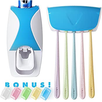 JPKK Automatic Toothpaste Dispenser and Toothbrush Holder Plus 5 Colorful Toothbrush Head Covers - 7 PC Dental Care Kit