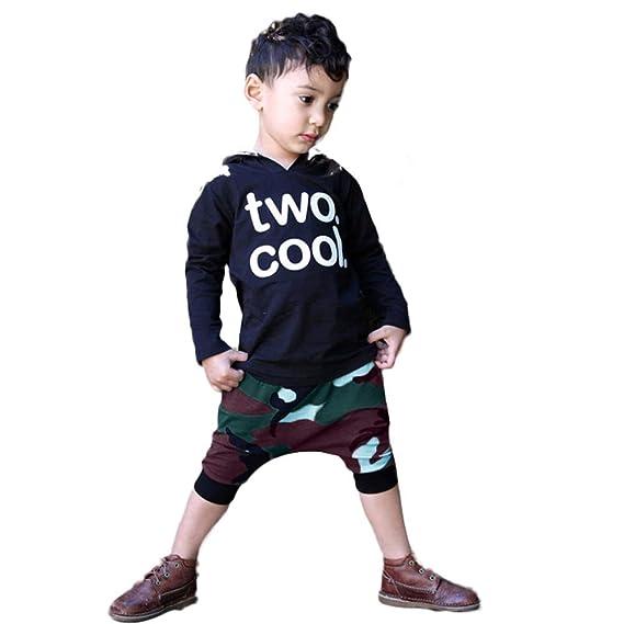 YanHoo Ropa para niños Conjunto de niños pequeños con Estampado de Letras con Capucha Tops de Camuflaje Pantalones con Trajes Top de Capucha con Estampado ...