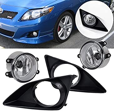 Ricoy Pair Front Clear Glass Lens Black Cover Fog Lights W// Bulbs For 2009-2010 Toyota Corolla