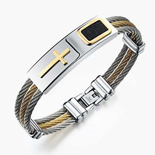 Fashion Titanium Steel Golden Cross 3 Rows of Wire Chain Belt Silver Gold Tone Bracelet for Men L7.28
