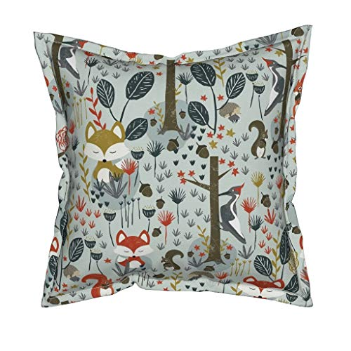 Autumn Organic Cotton Sateen Throw Pillow - Woodland Fox Squirrel Hedgehog Woodpecker Rustic Fall by Melarmstrongdesign - Flanged Cover and Insert Included by Roostery (Image #1)