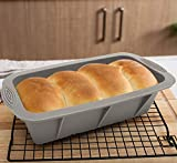 Bread Loaf Pan 2-Pack, Aichoof Silicone Cake Baking Mold Non-slip hand design Non-Stick Loaf Pan-Grey