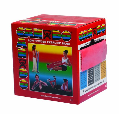 CanDo Low Powder Exercise Band, 50 yard roll, Red: Light