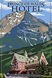Waterton Lakes National Park, Canada - Prince of Wales Hotel (12x18 Art Print, Wall Decor Travel Poster)