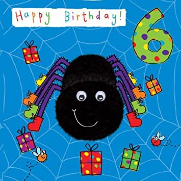Twizler 6th Birthday Card For Child With Spider And Googly Eyes