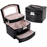 Three floors jewelry box Crocodile grain automatic leather Case