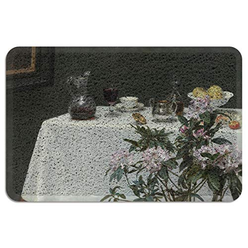 EZON-CH Outdoor Doormat for Entrance Way Front Welcome Mat,Henri Fantin-Latour - Still Life: Corner of a Table Doormats for Bedroom Living Room Kitchen Indoor Washable Shoes Scaper,18 x 30 Inch