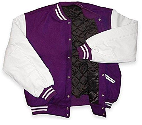 Original Windhound College Jacke violett mit weißen Echtleder Ärmel L