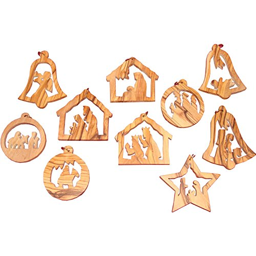Wood Tree Ornament (6.5cm Christmas Tree Ornaments Set Hand Carved Bethlehem Holy Land)