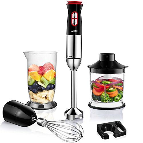 Immersion Blender, Aicok 5-in-1 Hand Blender Set with 12-Speed and Turbo, Immersion Hand Blender with Stainless Steel Blades, Includes Beaker, Food Processor, Egg Whisk, Shaft & Wall Bracket, 300W