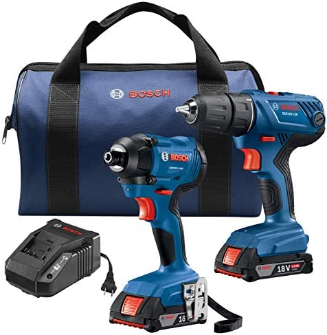 Bosch 18V 2-Tool Combo Kit with 1 2 In. Compact Drill Driver and 1 4 In. Hex Impact Driver GXL18V-26B22