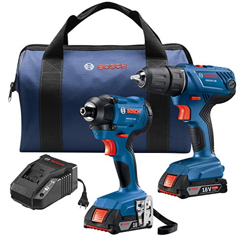 - Bosch 18V 2-Tool Combo Kit with 1/2 In. Compact Drill/Driver and 1/4 In. Hex Impact Driver GXL18V-26B22