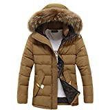 Men's Fur Hood Down Padded Coat Collar Jacket Thick Winter Coat (Woydal brand Size M, Camel)