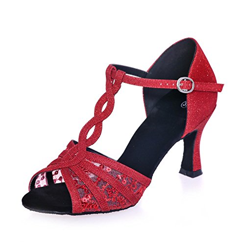 L@YC Women'S Latin Dance Shoes Heel 7.5Cm Satin Dance Sandals Can Be Customized Red McwziwjGVa