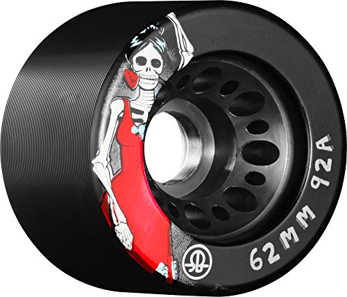 Rollerbones Day of the Dead 92A Speed/Derby Wheels with a Nylon Core (Set of 4), 62mm, Black ()