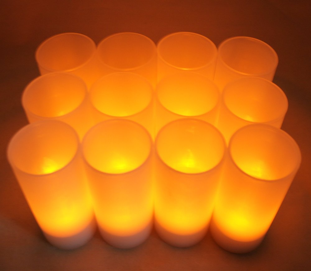 Set of 12 Restaurant Quality Rechargeable Tealights/ Flickering Amber LEDs + 12 Frosted Holders