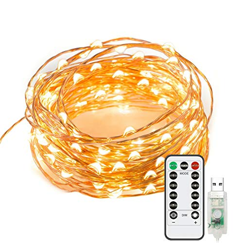 Chalpr 100 LED 32.8Ft String Lights, USB Plug-in Remote Dimmable Festival Fairy Lights Warm White Starry String Lights for Bedroom Home Garden Wedding Birthday Party Indoor Outdoor Decorations