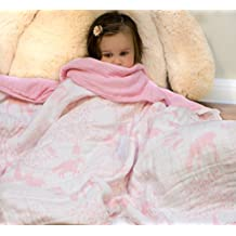 Organic Muslin Baby Toddler Blanket - 100% Hypoallergenic Cotton Bed Blankets - Pink Forest by Clover & Sage