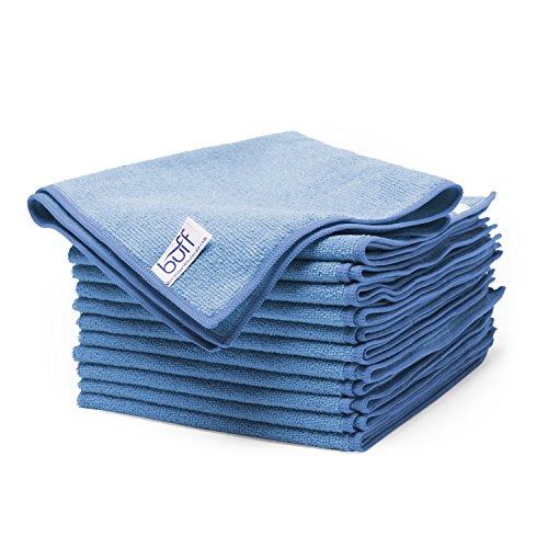 "Microfiber Wholesale Buff Microfiber Cleaning Cloth | Blue (12 Pack) | Size 16"" x 16"" 