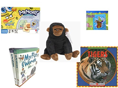 Children's Gift Bundle - Ages 3-5 [5 Piece] - Spongebob Squarepants Memory Game - Scooby Doo & Shaggy 100 Piece Puzzle Toy - TY Beanie Baby - Congo The Gorilla - My Fun with Words Dictionary Book S ()