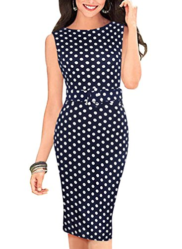 BOKALY Women's Bodycon Dress For Work Vintage Dot Sleeveless Casual Pencil Clothes BK191 (8(Large), Blue)