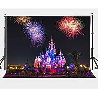 LYLYCTY 10X7ft Colorful Firework Photography Backdrop Disney Night Scene Beautiful Castle Background LYGE516