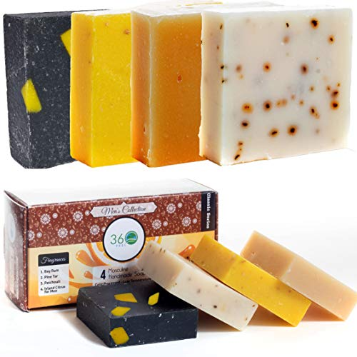 360Feel Men's Soap bar Handmade - 4 Man Soap Bar -Masculine fragrance- Bay Rum, Patchouli, Pine Tar with Charcoal Beeswax,Citrus - Gift pack- Natural Men Soap- Christmas stocking stuffers Holiday