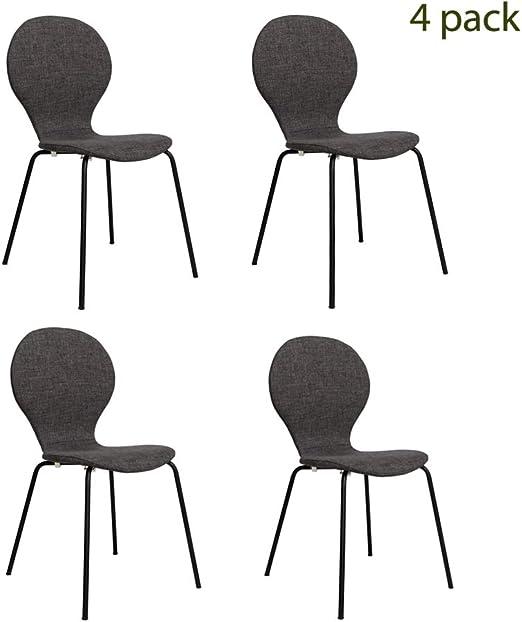 Amazon.com: FUNCASH - Juego de 4 sillas de comedor de tela ...