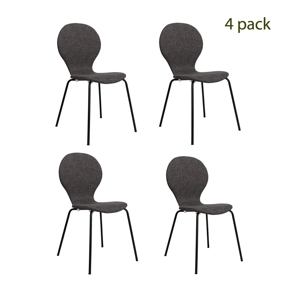FUNCASH Dining Chairs, Set of 4 Dining Room Chair Grey Fabric Cushion Side Chairs with Sturdy Metal Legs, Mid Century Modern Chairs for Kitchen, Dining, Bedroom, Living Room