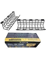 Kabelhantering skrivbord, 2 stycken kabelkorg, 43 cm kabelränna av metalltråd för datordatakabel och strömkabel-skrivbords-kabelhantering (svart)
