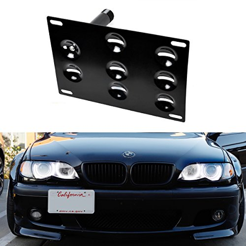 License Plate Series (iJDMTOY Euro Style Front Bumper Tow Hole Adapter License Plate Mounting Bracket For BMW E36 3 Series, E60 E61 5 Series, E63 E64 6 Series, E53 X5, MINI Cooper R50 R52 R53 R55 R56 R57 R58 R59)