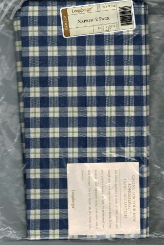 Longaberger 2-Pack of Napkins in Blue Ribbon Plaid Fabric