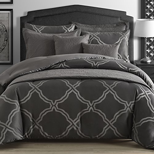 Comfy Bedding Gem Flower Jacquard 5-Piece Comforter Set (King 5-Piece, Grey) (Jacquard Bedding King)