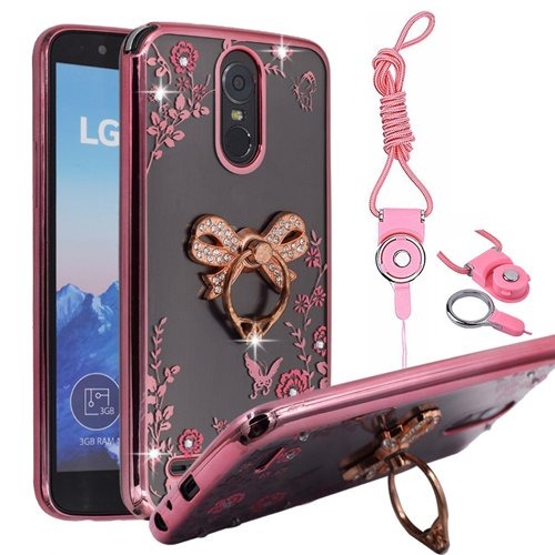 LG K20 Plus Case, V LV5 Harmony Grace BestAlice Slim Fit Soft Gel Bling Case Metal Plating Bumper Cover \u0026 Lanyard Neck Strap, Amazon.com: