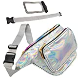 Holographic Fanny Pack with Belt Extender - Plus Waterproof Phone Pouch - 3 Pockets, Adjustable and Fashionable Waist Bag for Travel, Festival, Party, Rave, Cruise; Irridescent for Women, Men, Kids