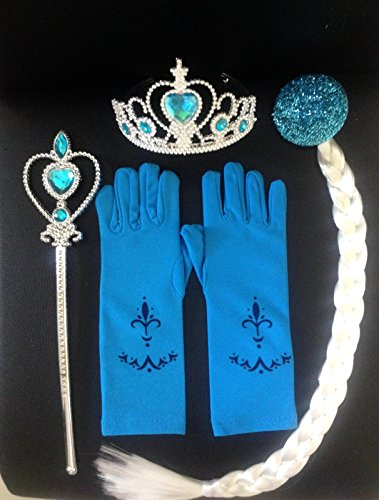 [Princess Tiara Crown Wig Wand Gloves Set of 4 Cosplay Accessories] (Lmfao Box Man Costume)