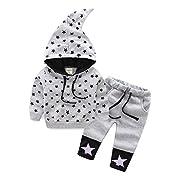 Mud Kingdom Baby Boys Stars Cute Hooded Sweater and Pants Fleece Sets 12M Gray