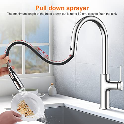 bedee Wasserhahn Küche 360°Drehbar Küchenarmatur mit Brause Ausziehbar Mischbatterie Chrom Einhebelmischer Spültischarmatur mit 2 Modus, Kalt und Heiß Wasser, Universal für Küche Bad Waschbecken