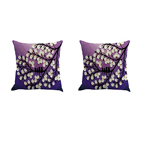 Black Large Tree and Flower Birds Linen Throw Pillow Covers Decorative Pillowcase Cushion Cover 18 x18 Inch Pack of 2 (Purple) ()