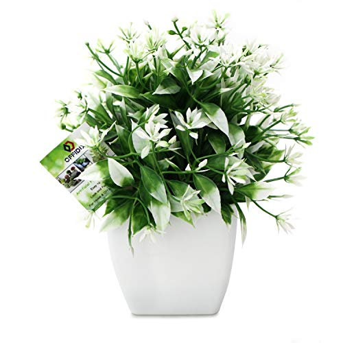 OFFIDIX Plantas Artificiales Mini Flores Artificiales con jarron Cuadrado Blanco Plantas Falsas de plastico para Oficina, decoracion del hogar