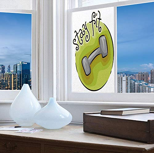 - YOLIYANA Privacy Frosted Decorative Vinyl Decal Window Film,Fitness,for Bathroom, Kitchen, Home, Easy to Install,Stay Fit Circular Icon with a Dumbbell Cartoon,24''x48''