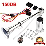 MIRKOO 12V 150dB Car Air Horn Kit, Super Loud 17.3 Inches Single Tone Chrome Plated Zinc Single Trumpet Air Horn with Compressor for Any 12V Vehicles Car Truck RV Van SUV Motorcycle Off Road Boat