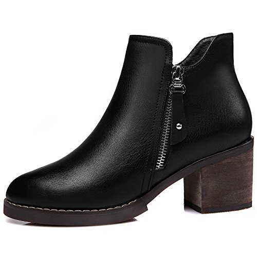 Boots Thirty Shoes Short Wind Shoes Casual Women'S Heel Round Head And Rough Casual eight Autumn Winter Fashion KHSKX British a7wEqxTST