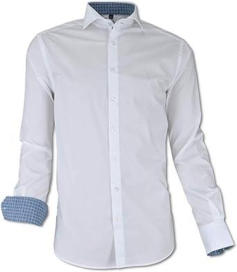Carlo Colucci Business - Camisa elástica con Cuello de Pato ...