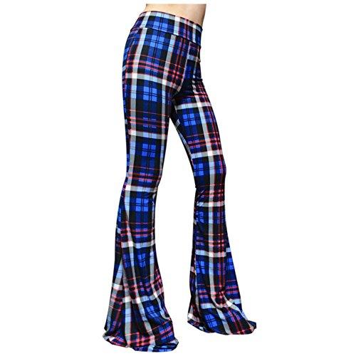 SMT Women's High Waist Wide Leg Long Bell Bottom Yoga Pants Large Plaid Orange & Royal