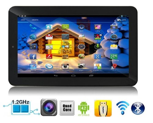 """SVP 9"""" Quad Core Dual Camera Android 4.2.2 Tablet PC , HD Display , Black Color , Capacitive 5 Point Multi-Touch Screen , Support 3D Game , 3G Dongle , HDMI , Wi-Fi , E-Book , Features Google Play Store, Skype, YouTube and G-Sensor ( By SVP )"""