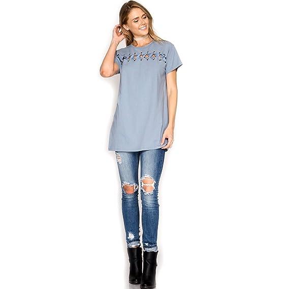 8377968ee2928b She + Sky Slate Blue Short Sleeve Top T-Shirt w Front Shoe Lace Detail