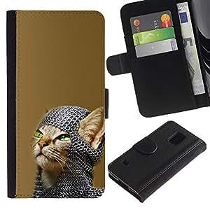 YiPhone /// Tirón de la caja Cartera de cuero con ranuras para tarjetas - Chainmail Guerrero Gato - Samsung Galaxy S5 V SM-G900