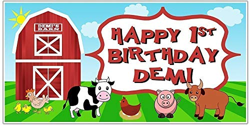 Farm Animals Birthday Banner Personalized Party Backdrop Decoration